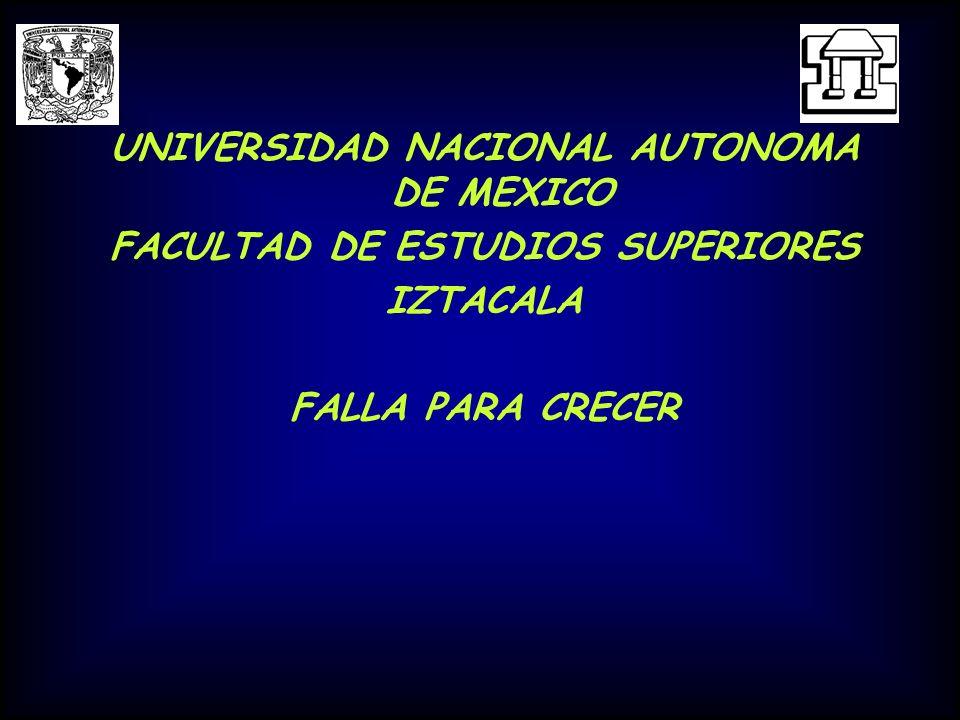 UNIVERSIDAD NACIONAL AUTONOMA DE MEXICO FACULTAD DE ESTUDIOS SUPERIORES IZTACALA FALLA PARA CRECER
