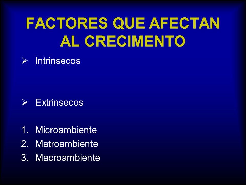 FACTORES QUE AFECTAN AL CRECIMENTO Intrinsecos Extrinsecos 1.Microambiente 2.Matroambiente 3.Macroambiente