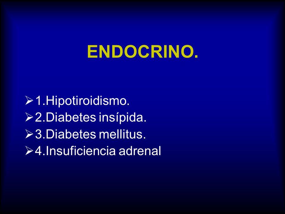 ENDOCRINO. 1.Hipotiroidismo. 2.Diabetes insípida. 3.Diabetes mellitus. 4.Insuficiencia adrenal