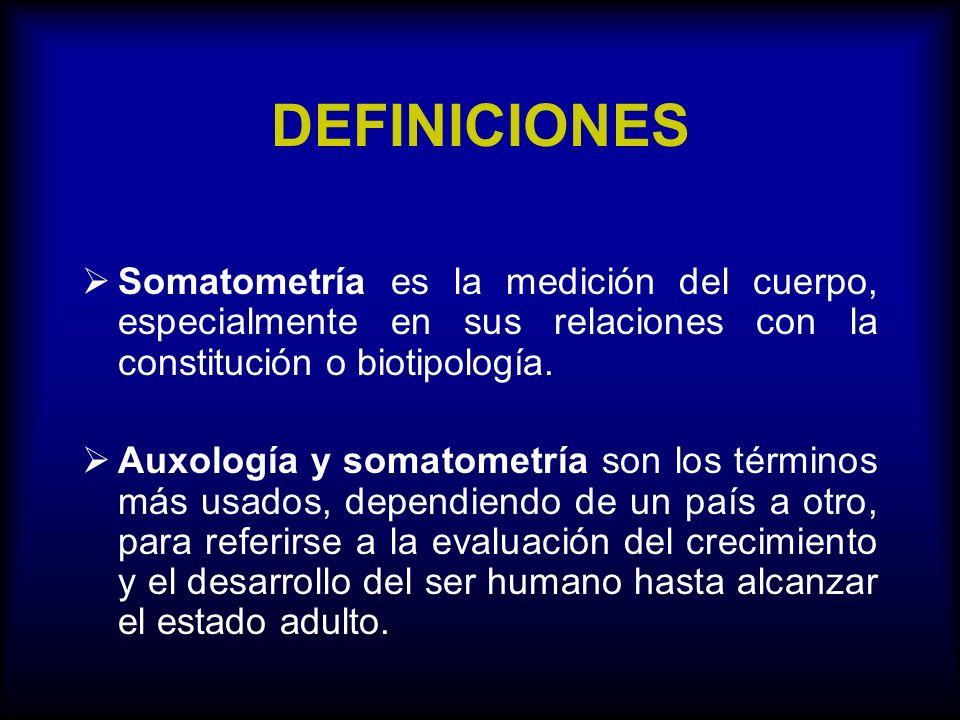 DEFINICIONES Somatometría es la medición del cuerpo, especialmente en sus relaciones con la constitución o biotipología. Auxología y somatometría son