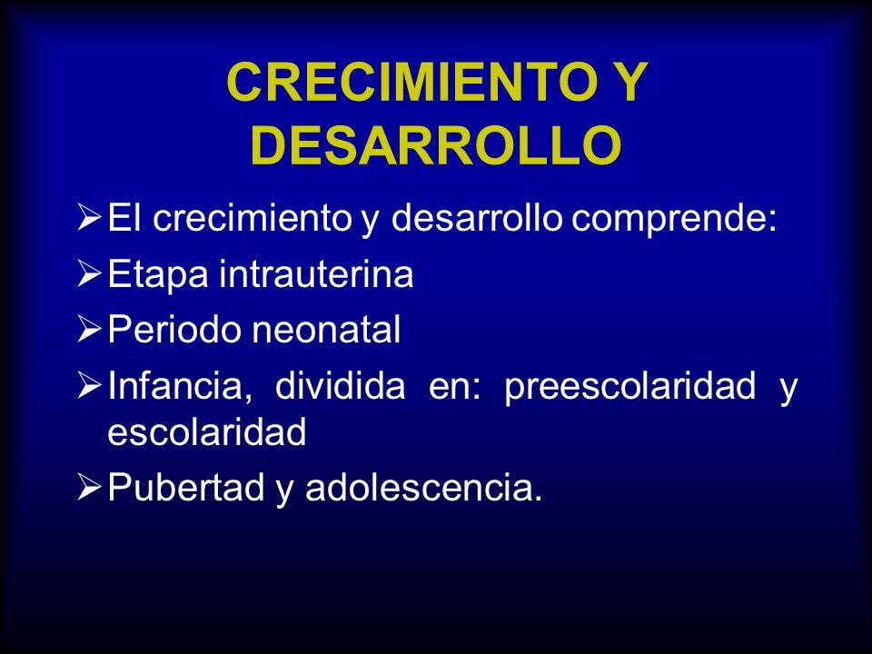 CRECIMIENTO Y DESARROLLO El crecimiento y desarrollo comprende: Etapa intrauterina Periodo neonatal Infancia, dividida en: preescolaridad y escolarida