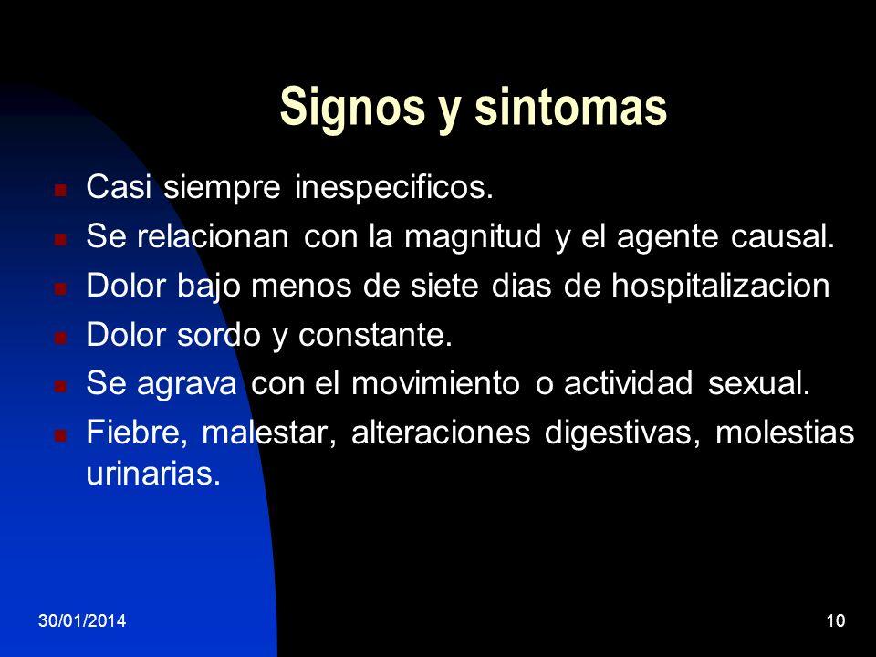 30/01/201410 Signos y sintomas Casi siempre inespecificos. Se relacionan con la magnitud y el agente causal. Dolor bajo menos de siete dias de hospita