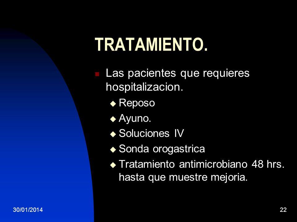 30/01/201422 TRATAMIENTO. Las pacientes que requieres hospitalizacion. Reposo Ayuno. Soluciones IV Sonda orogastrica Tratamiento antimicrobiano 48 hrs