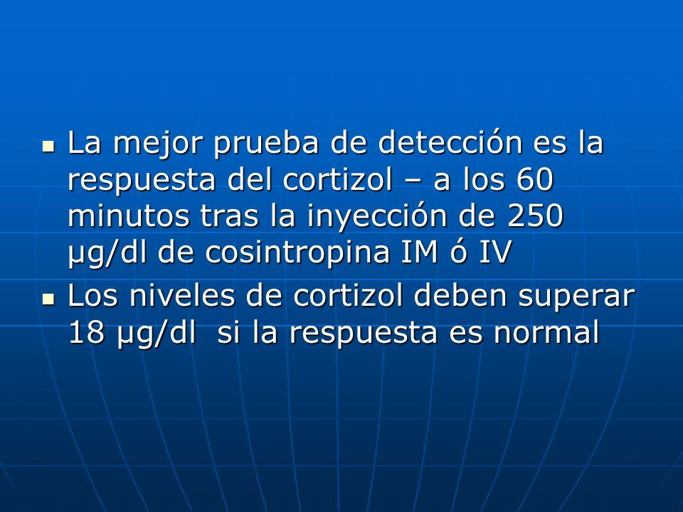 La mejor prueba de detección es la respuesta del cortizol – a los 60 minutos tras la inyección de 250 µg/dl de cosintropina IM ó IV La mejor prueba de