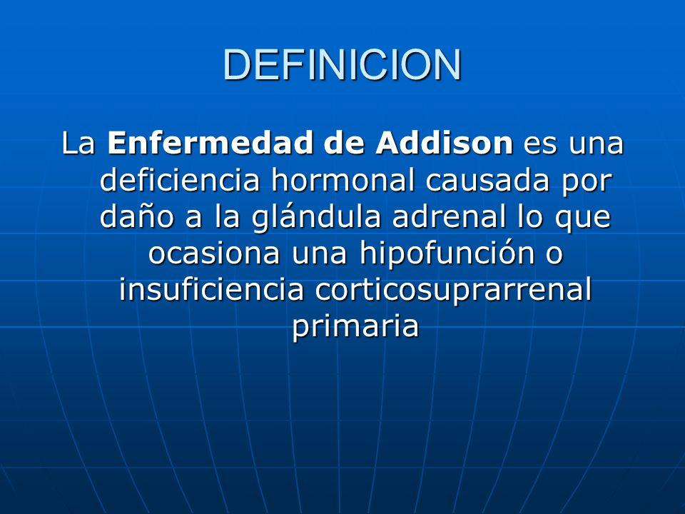 DEFINICION La Enfermedad de Addison es una deficiencia hormonal causada por daño a la glándula adrenal lo que ocasiona una hipofunción o insuficiencia