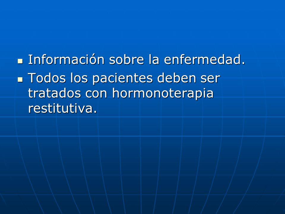 Información sobre la enfermedad. Información sobre la enfermedad. Todos los pacientes deben ser tratados con hormonoterapia restitutiva. Todos los pac