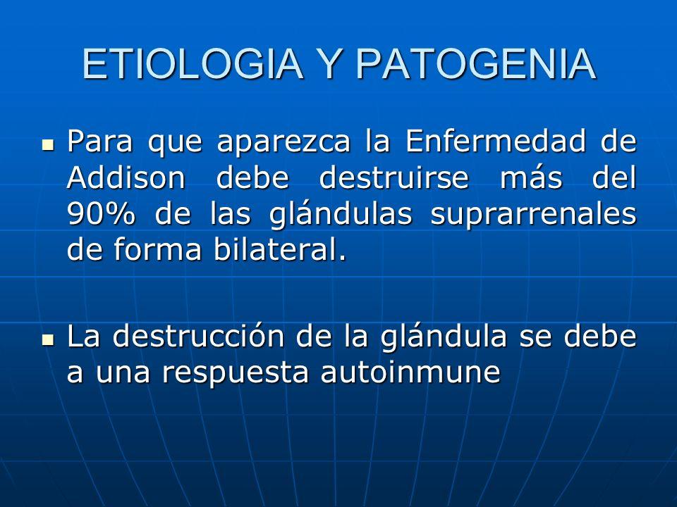 ETIOLOGIA Y PATOGENIA Para que aparezca la Enfermedad de Addison debe destruirse más del 90% de las glándulas suprarrenales de forma bilateral. Para q