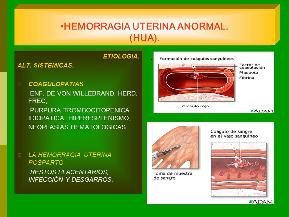 HEMORRAGIA UTERINA ANORMAL. (HUA). ETIOLOGIA. ALT. SISTEMICAS. COAGULOPATIAS ENF. DE VON WILLEBRAND, HERD. FREC, PURPURA TROMBOCITOPENICA IDIOPATICA,