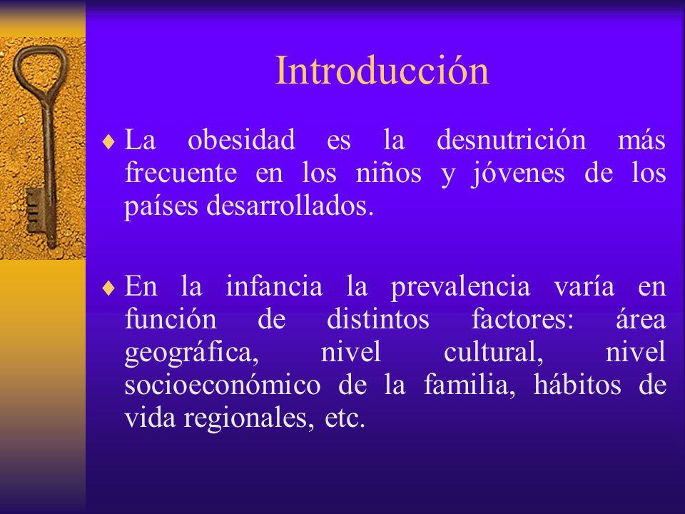 Introducción Existen otros factores que condicionan la importancia del estudio de la obesidad infanto- juvenil: su relación con la obesidad adulta, la cual es un factor de riesgo para numerosas enfermedades, lo que se traduce en un incremento de la morbilidad y mortalidad de los adultos obesos