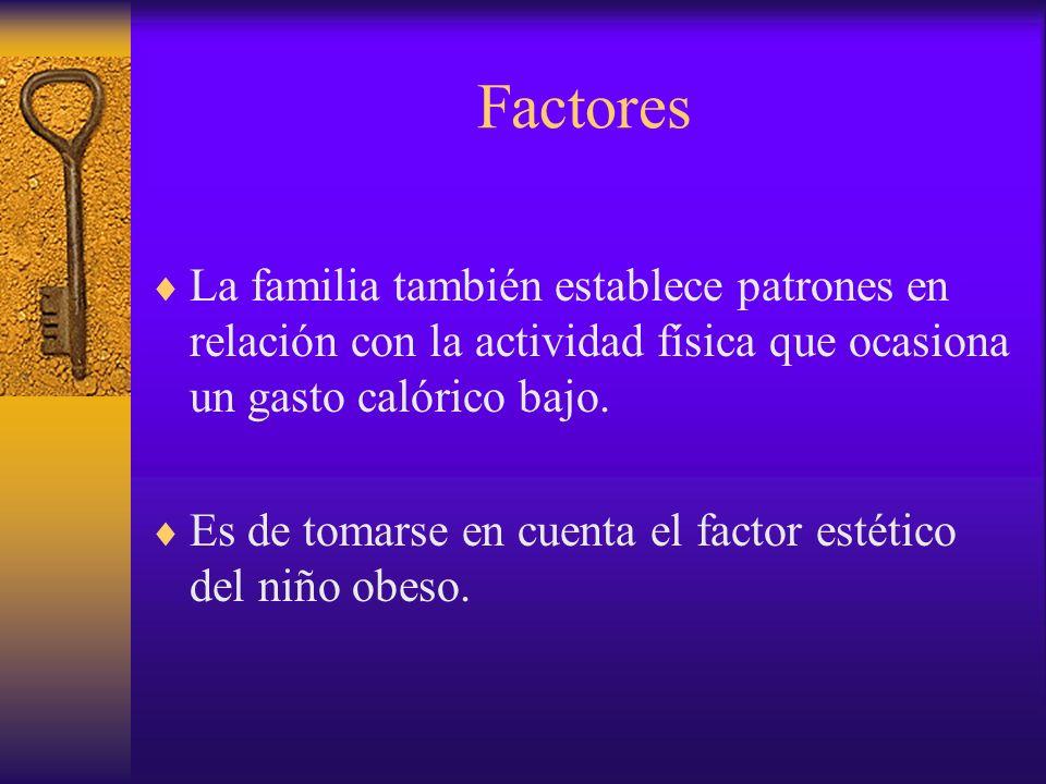Factores El niño obeso es en general el producto de una familia de obesos o por lo menos con uno de los padres obesos.