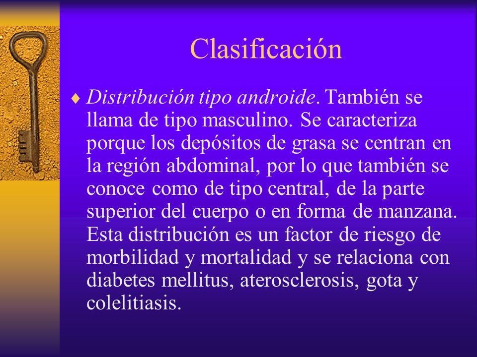Clasificación Distribución tipo ginecoide o de tipo femenino.
