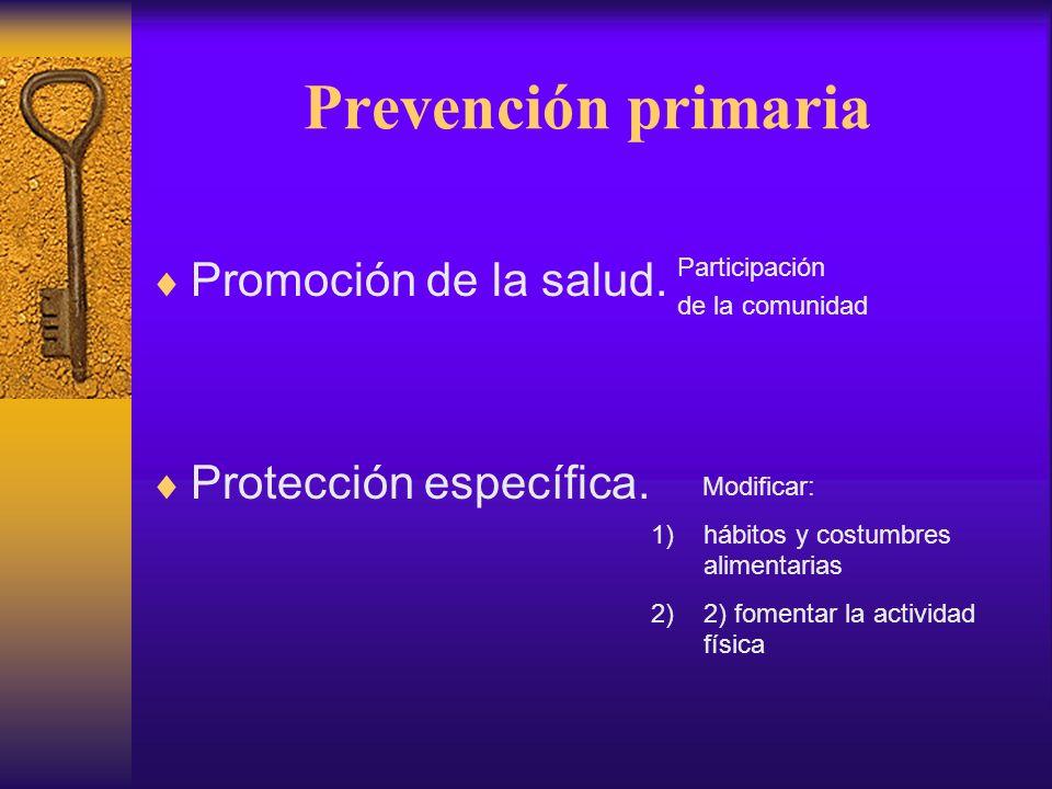 Prevención secundaria Diagnóstico precoz y tratamiento oportuno Antecedentes familiares hiperfagia, peso elevado, hábitos alimentarios erróneos, excesiva ingesta de alimentos, vida sedentaria Se requiere motivación