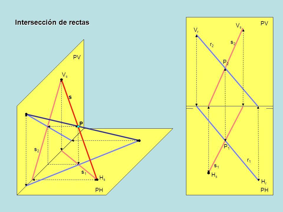 Intersección de rectas PV PH PV HsHs s2s2 VsVs s s1s1 s1s1 s2s2 VsVs HsHs r2r2 VrVr r1r1 HrHr P P2P2 P1P1