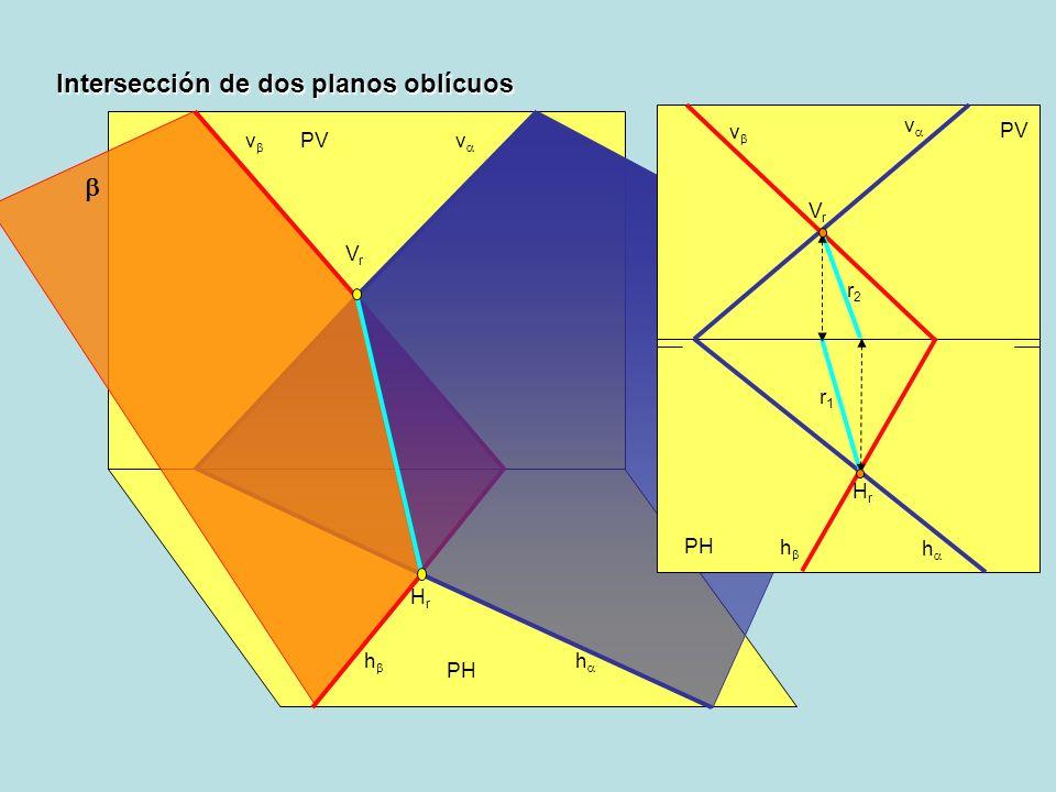 PH PV h v v h VrVr HrHr PH PV h v Intersección de dos planos oblícuos v h r2r2 r1r1 HrHr VrVr