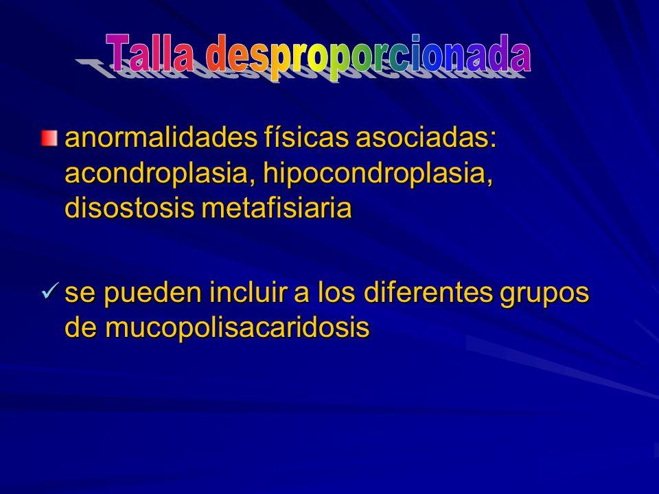 anormalidades físicas asociadas: acondroplasia, hipocondroplasia, disostosis metafisiaria se pueden incluir a los diferentes grupos de mucopolisacarid