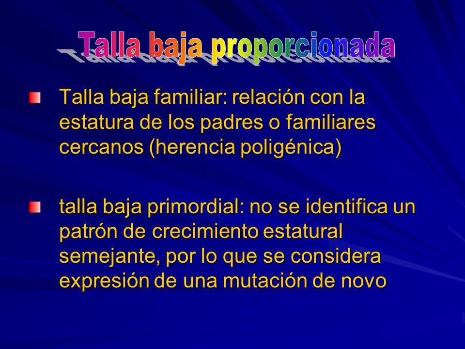 Talla baja familiar: relación con la estatura de los padres o familiares cercanos (herencia poligénica) talla baja primordial: no se identifica un pat
