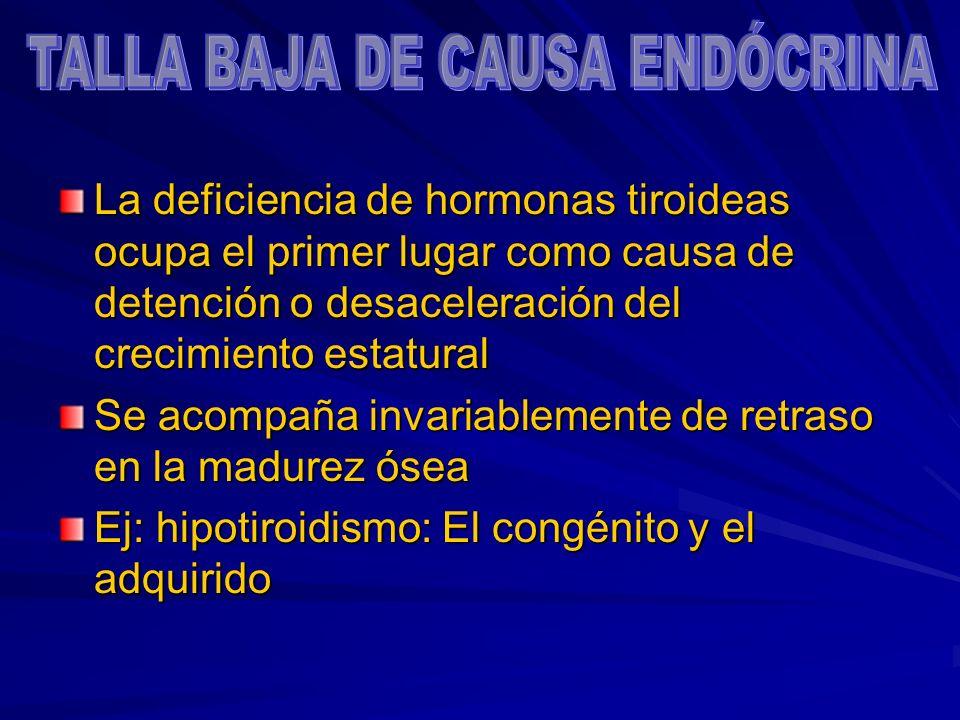 La deficiencia de hormonas tiroideas ocupa el primer lugar como causa de detención o desaceleración del crecimiento estatural Se acompaña invariableme