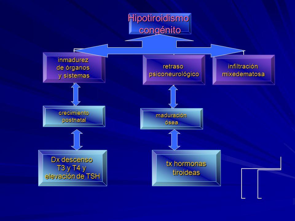 Hipotiroidismocongénito inmadurez de órganos y sistemas crecimientopostnatal Dx descenso T3 y T4 y elevación de TSH retrasopsiconeurológico maduración