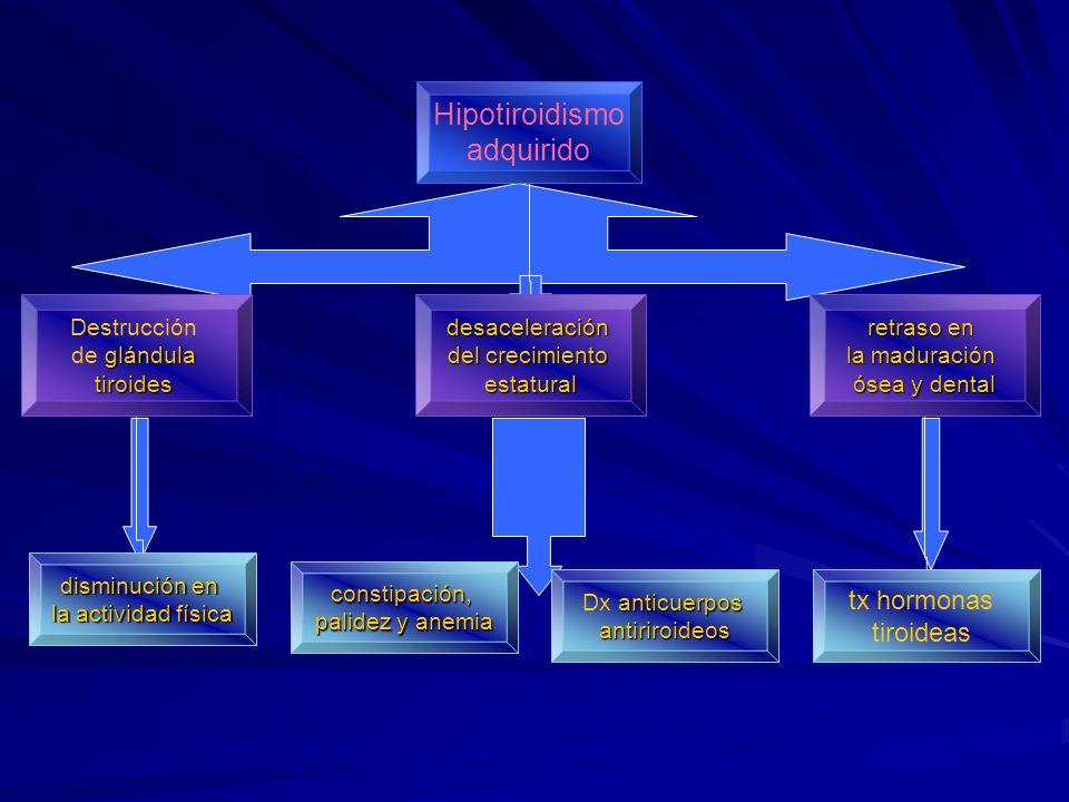 Hipotiroidismo adquirido Destrucción glándula de glándulatiroidesdesaceleración del crecimiento estatural retraso en la maduración ósea y dental dismi