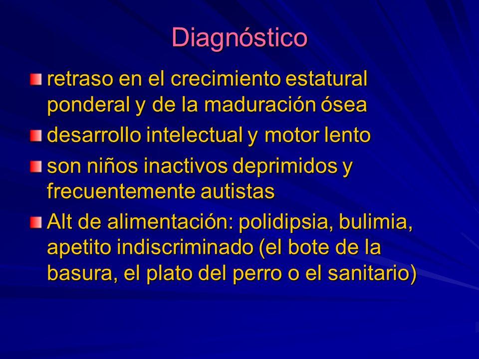 Diagnóstico retraso en el crecimiento estatural ponderal y de la maduración ósea desarrollo intelectual y motor lento son niños inactivos deprimidos y