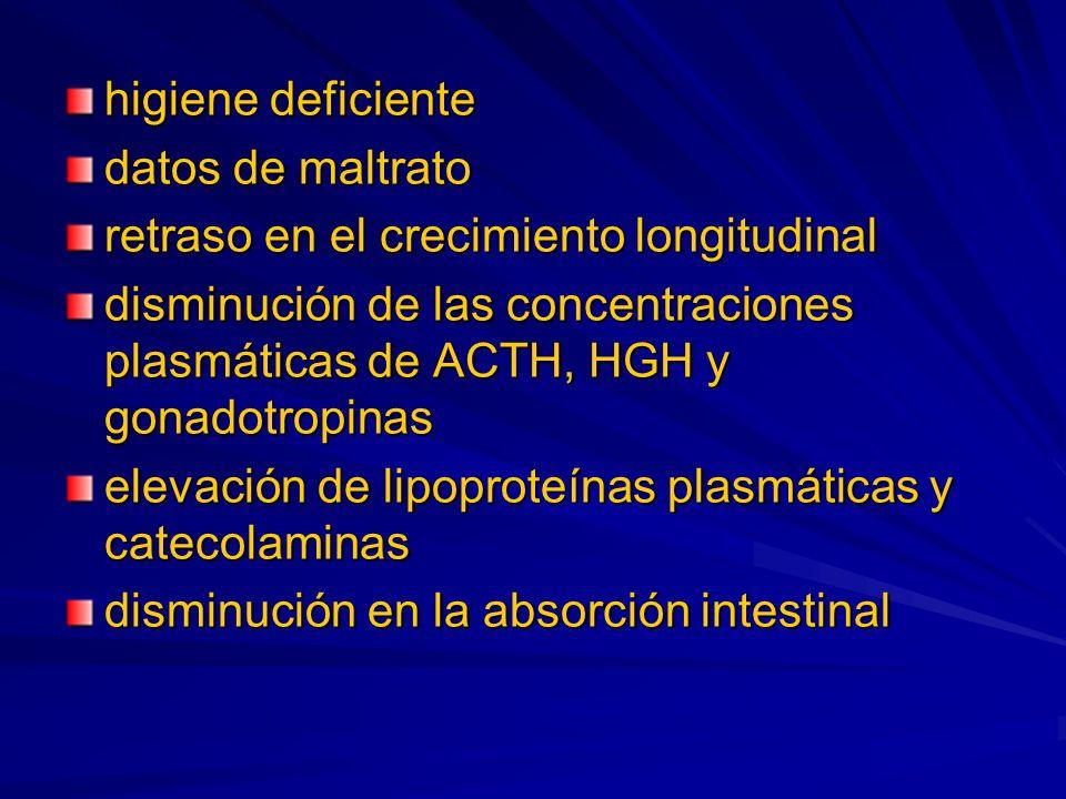 higiene deficiente datos de maltrato retraso en el crecimiento longitudinal disminución de las concentraciones plasmáticas de ACTH, HGH y gonadotropin