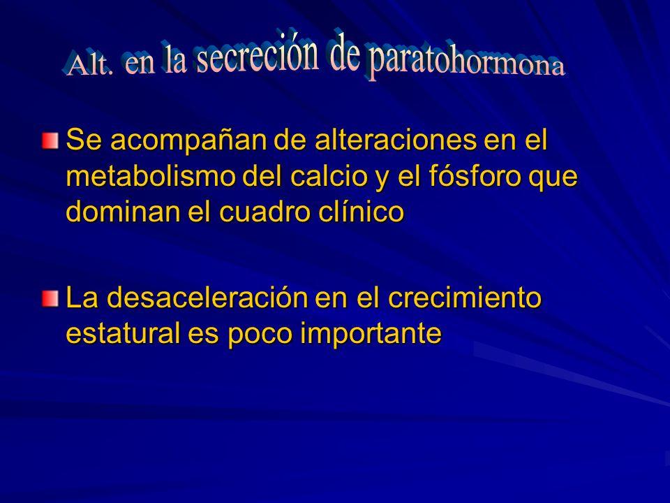 Se acompañan de alteraciones en el metabolismo del calcio y el fósforo que dominan el cuadro clínico La desaceleración en el crecimiento estatural es