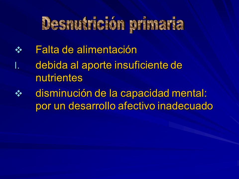 Falta de alimentación Falta de alimentación I. debida al aporte insuficiente de nutrientes disminución de la capacidad mental: por un desarrollo afect