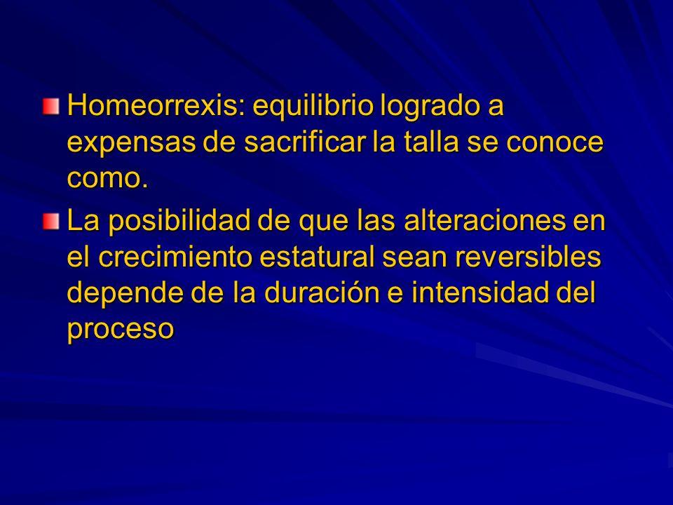 Homeorrexis: equilibrio logrado a expensas de sacrificar la talla se conoce como. La posibilidad de que las alteraciones en el crecimiento estatural s