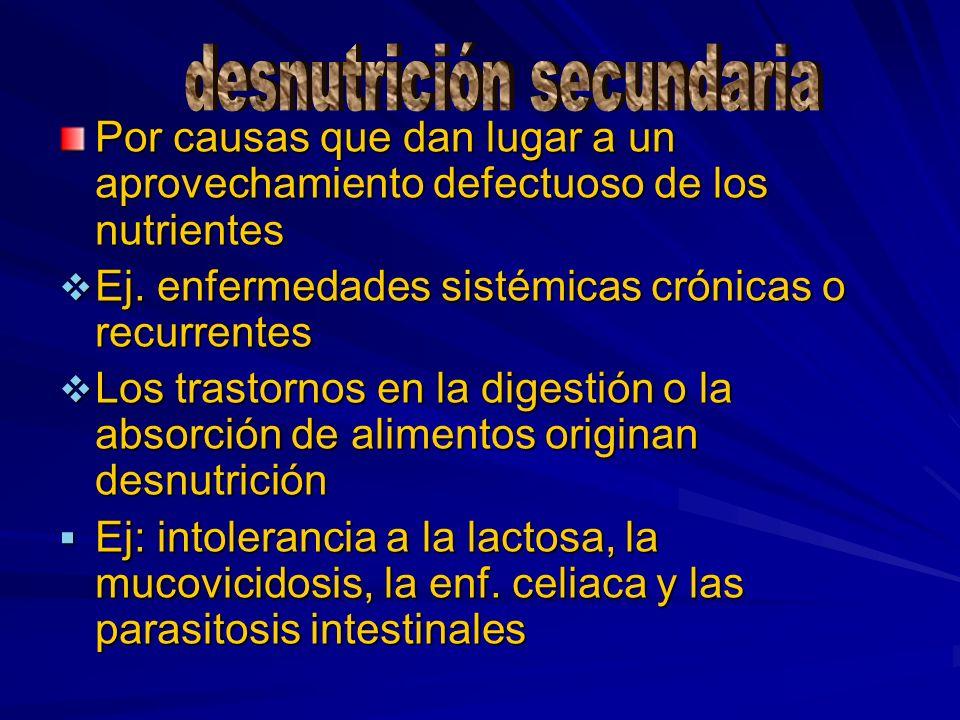 Por causas que dan lugar a un aprovechamiento defectuoso de los nutrientes Ej. enfermedades sistémicas crónicas o recurrentes Ej. enfermedades sistémi
