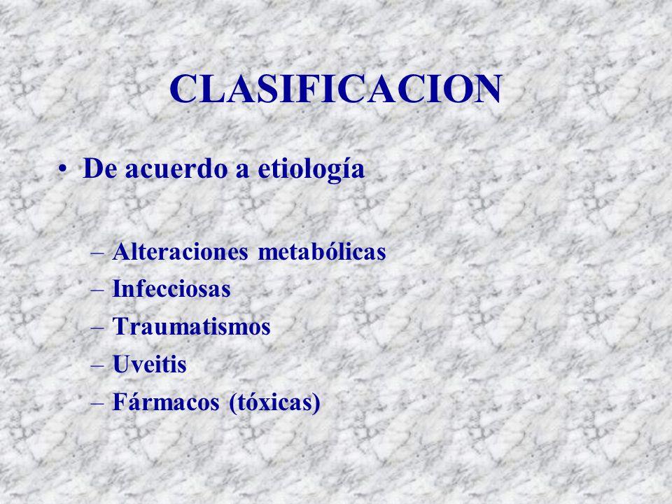 CLASIFICACION De acuerdo a etiología –Alteraciones metabólicas –Infecciosas –Traumatismos –Uveitis –Fármacos (tóxicas)