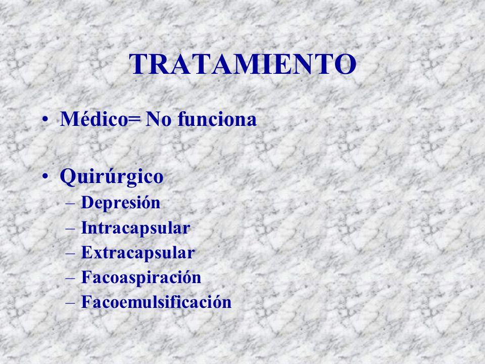 TRATAMIENTO Médico= No funciona Quirúrgico –Depresión –Intracapsular –Extracapsular –Facoaspiración –Facoemulsificación