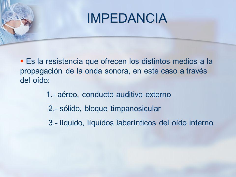 IMPEDANCIA Es la resistencia que ofrecen los distintos medios a la propagación de la onda sonora, en este caso a través del oído: 1.- aéreo, conducto