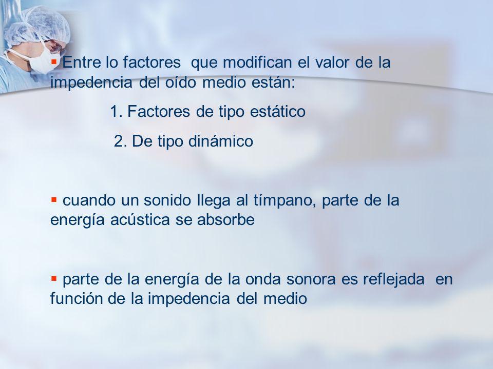 Entre lo factores que modifican el valor de la impedencia del oído medio están: 1. Factores de tipo estático 2. De tipo dinámico cuando un sonido lleg
