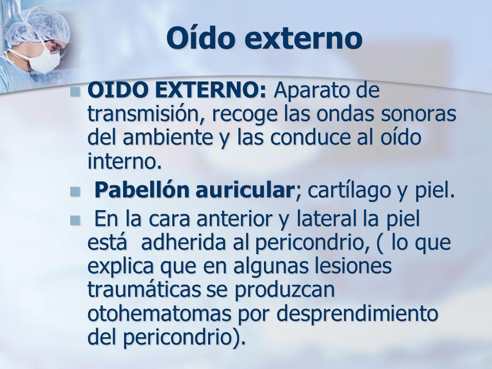 Oído externo OIDO EXTERNO: Aparato de transmisión, recoge las ondas sonoras del ambiente y las conduce al oído interno. OIDO EXTERNO: Aparato de trans