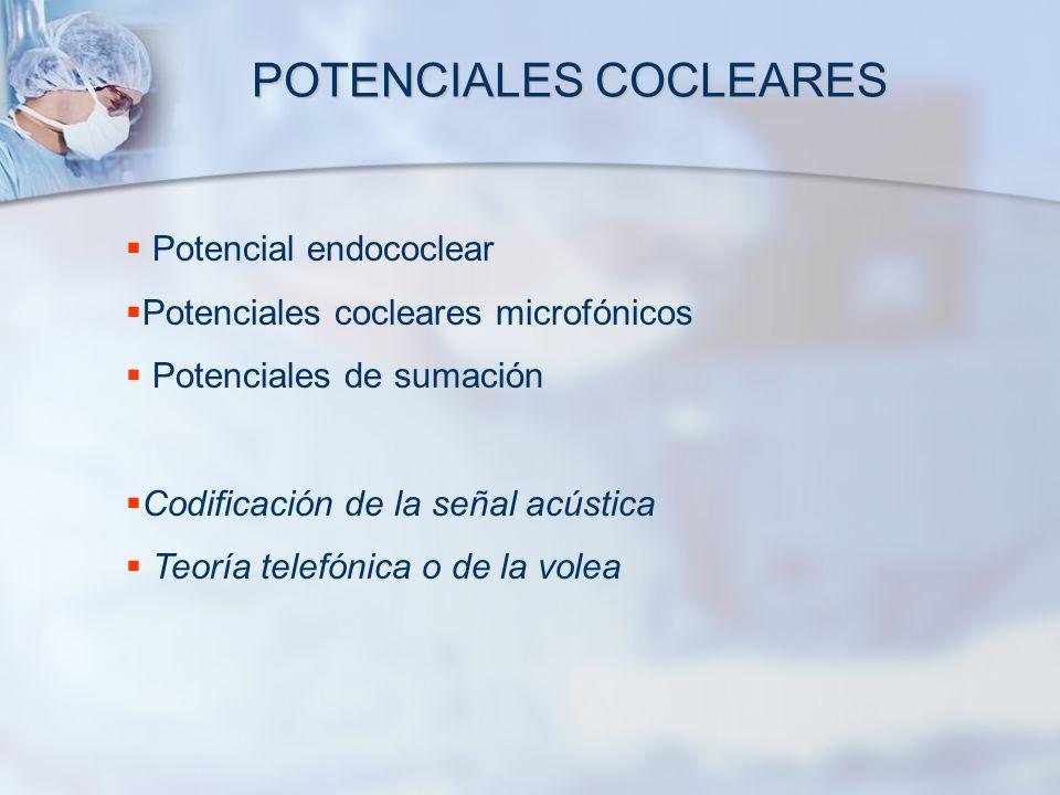 POTENCIALES COCLEARES Potencial endococlear Potenciales cocleares microfónicos Potenciales de sumación Codificación de la señal acústica Teoría telefó
