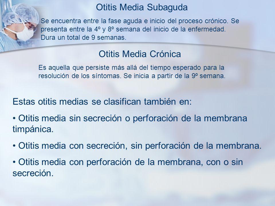 Otitis Media Subaguda Se encuentra entre la fase aguda e inicio del proceso crónico. Se presenta entre la 4º y 8º semana del inicio de la enfermedad.
