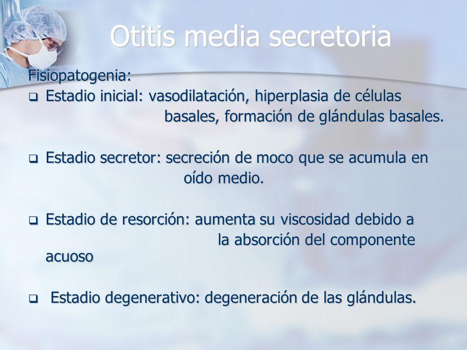 Otitis media secretoria Fisiopatogenia: Estadio inicial: vasodilatación, hiperplasia de células Estadio inicial: vasodilatación, hiperplasia de célula