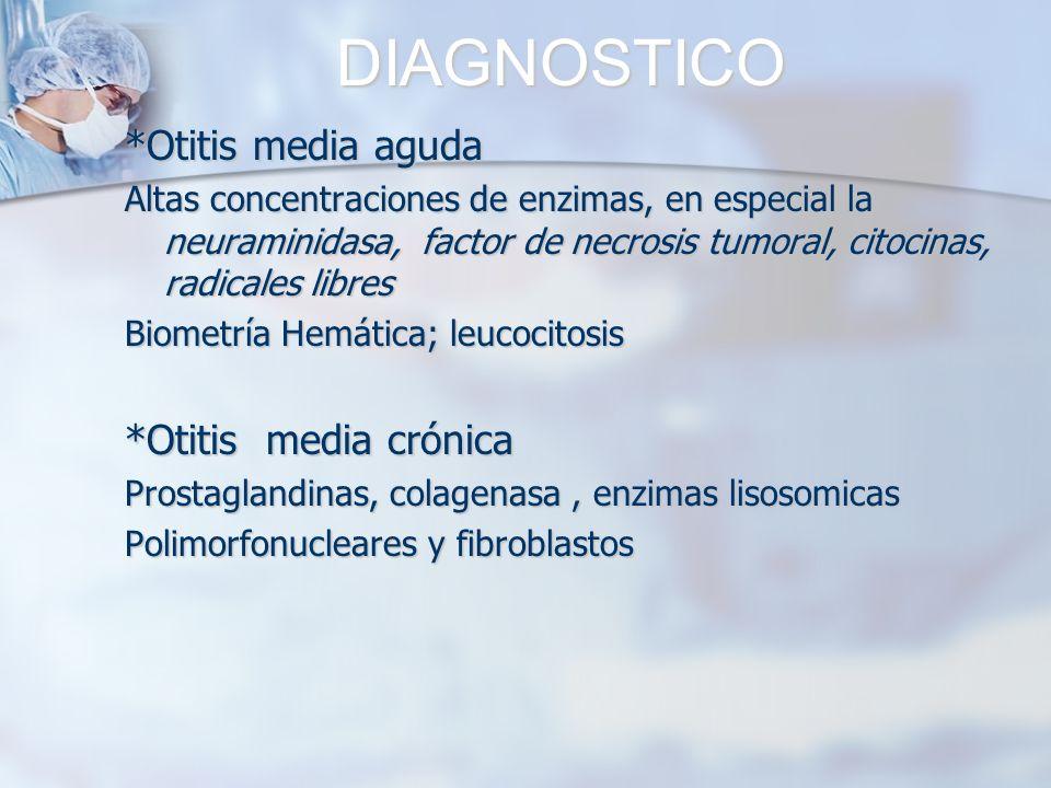 DIAGNOSTICO *Otitis media aguda Altas concentraciones de enzimas, en especial la neuraminidasa, factor de necrosis tumoral, citocinas, radicales libre
