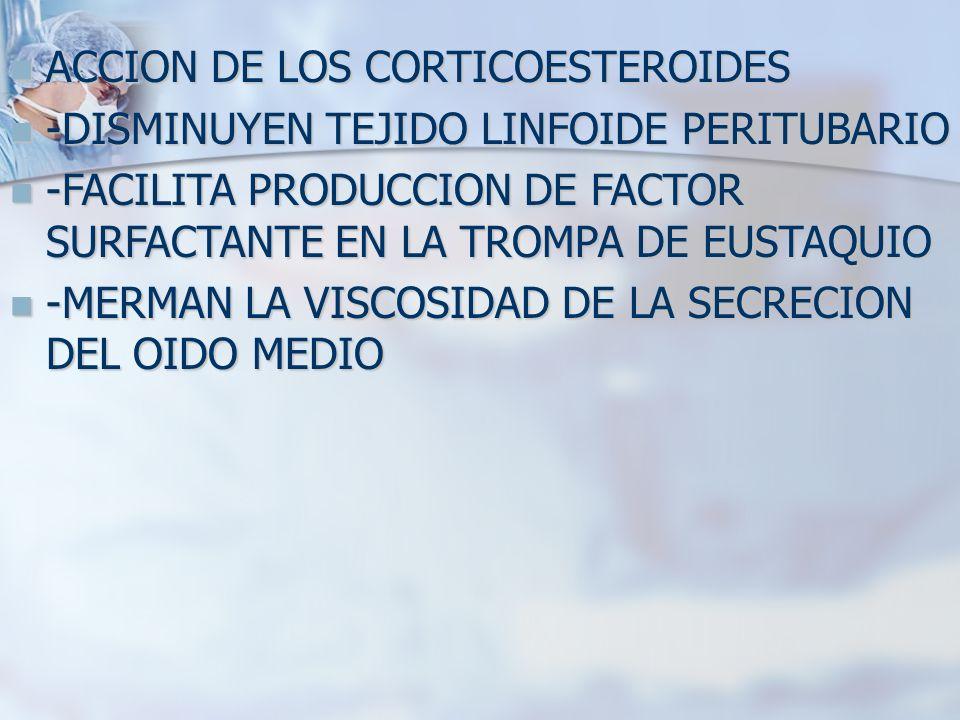 ACCION DE LOS CORTICOESTEROIDES ACCION DE LOS CORTICOESTEROIDES -DISMINUYEN TEJIDO LINFOIDE PERITUBARIO -DISMINUYEN TEJIDO LINFOIDE PERITUBARIO -FACIL
