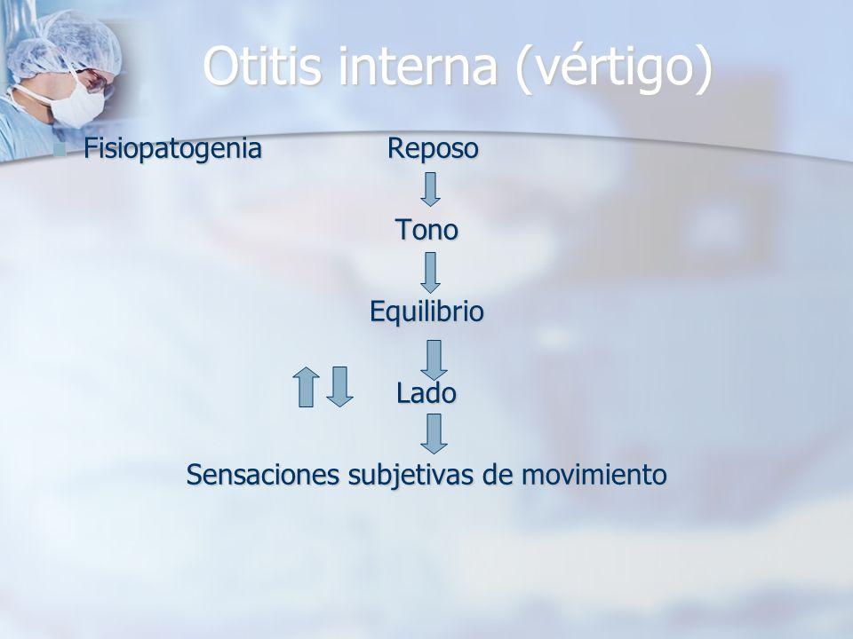 Otitis interna (vértigo) Fisiopatogenia Reposo Fisiopatogenia Reposo TonoEquilibrioLado Sensaciones subjetivas de movimiento