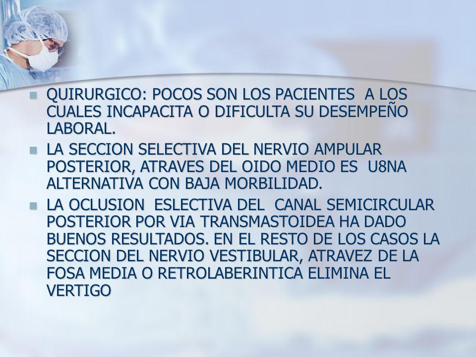 QUIRURGICO: POCOS SON LOS PACIENTES A LOS CUALES INCAPACITA O DIFICULTA SU DESEMPEÑO LABORAL. QUIRURGICO: POCOS SON LOS PACIENTES A LOS CUALES INCAPAC