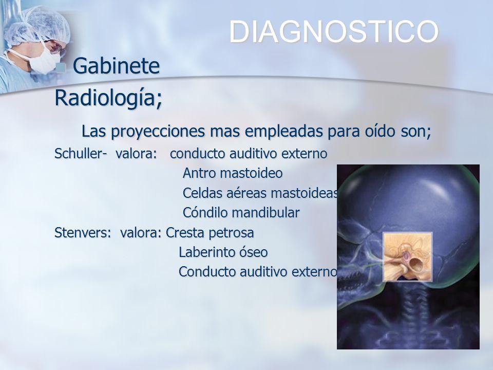 DIAGNOSTICO DIAGNOSTICO Gabinete GabineteRadiología; Las proyecciones mas empleadas para oído son; Las proyecciones mas empleadas para oído son; Schul