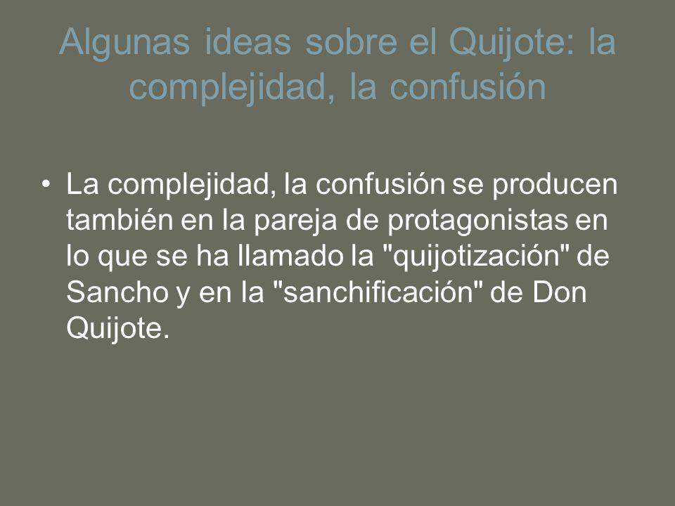 Algunas ideas sobre el Quijote: la complejidad, la confusión La complejidad, la confusión se producen también en la pareja de protagonistas en lo que