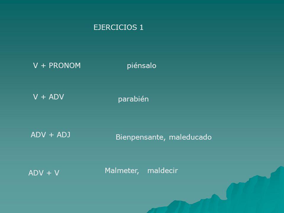 EJERCICIOS 1 V + PRONOMpiénsalo V + ADV parabién ADV + ADJ Bienpensante, maleducado ADV + V Malmeter, maldecir