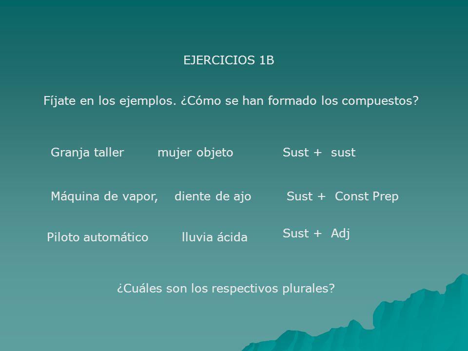 EJERCICIOS 1B Fíjate en los ejemplos. ¿Cómo se han formado los compuestos? Granja taller mujer objetoSust + sust Máquina de vapor, diente de ajoSust +