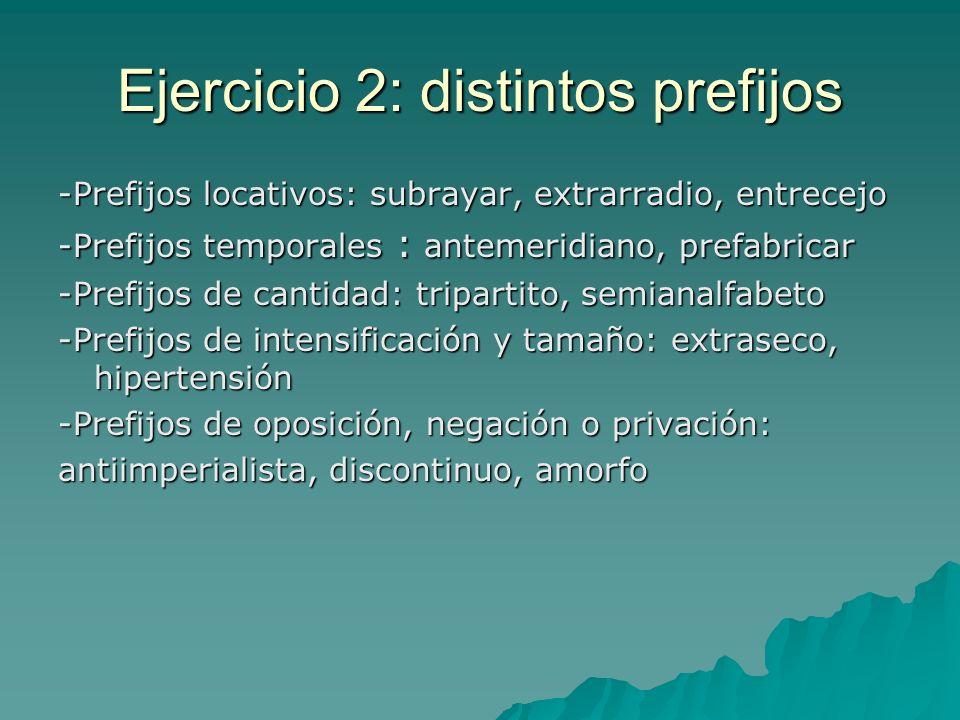Ejercicio 2: distintos prefijos -Prefijos locativos: subrayar, extrarradio, entrecejo -Prefijos temporales : antemeridiano, prefabricar -Prefijos de c