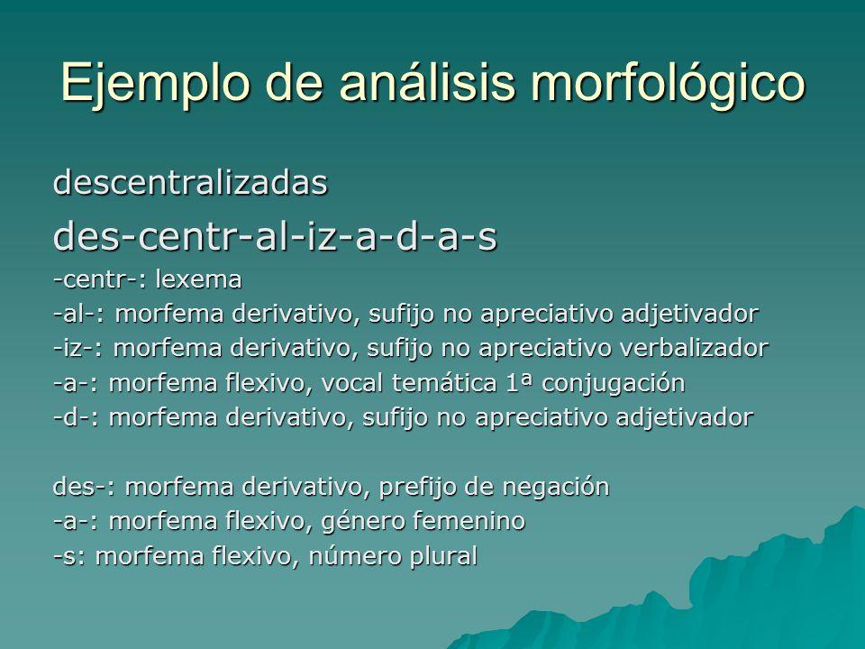 Ejemplo de análisis morfológico descentralizadasdes-centr-al-iz-a-d-a-s -centr-: lexema -al-: morfema derivativo, sufijo no apreciativo adjetivador -i