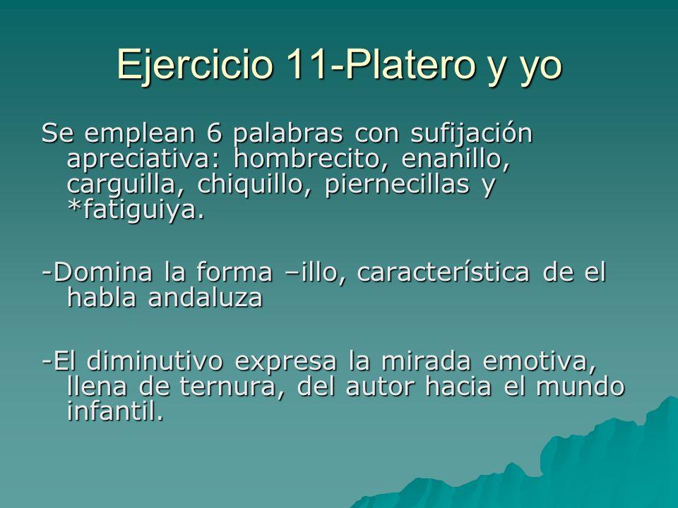 Ejercicio 11-Platero y yo Se emplean 6 palabras con sufijación apreciativa: hombrecito, enanillo, carguilla, chiquillo, piernecillas y *fatiguiya. -Do