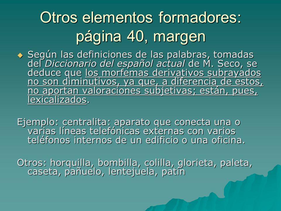Otros elementos formadores: página 40, margen Según las definiciones de las palabras, tomadas del Diccionario del español actual de M. Seco, se deduce