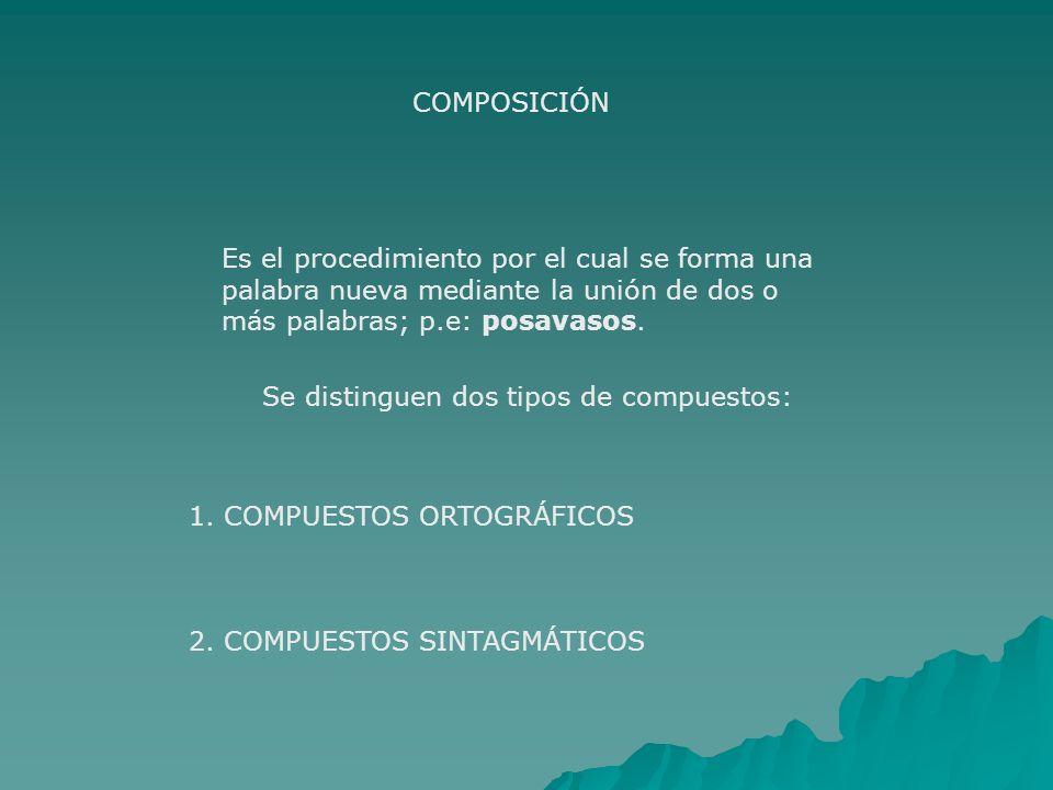 COMPOSICIÓN Es el procedimiento por el cual se forma una palabra nueva mediante la unión de dos o más palabras; p.e: posavasos. Se distinguen dos tipo